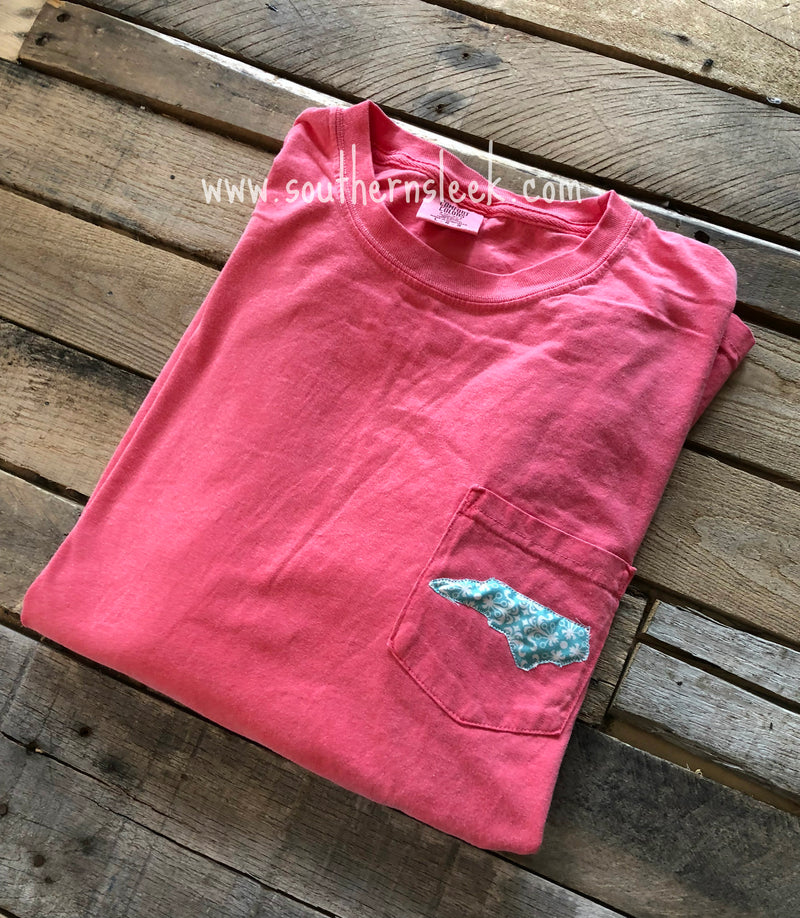 Watermelon Pink Comfort Colors with State Teal Pocket Logo
