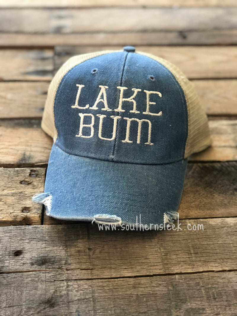 Lake Bum Distressed Trucker Hat