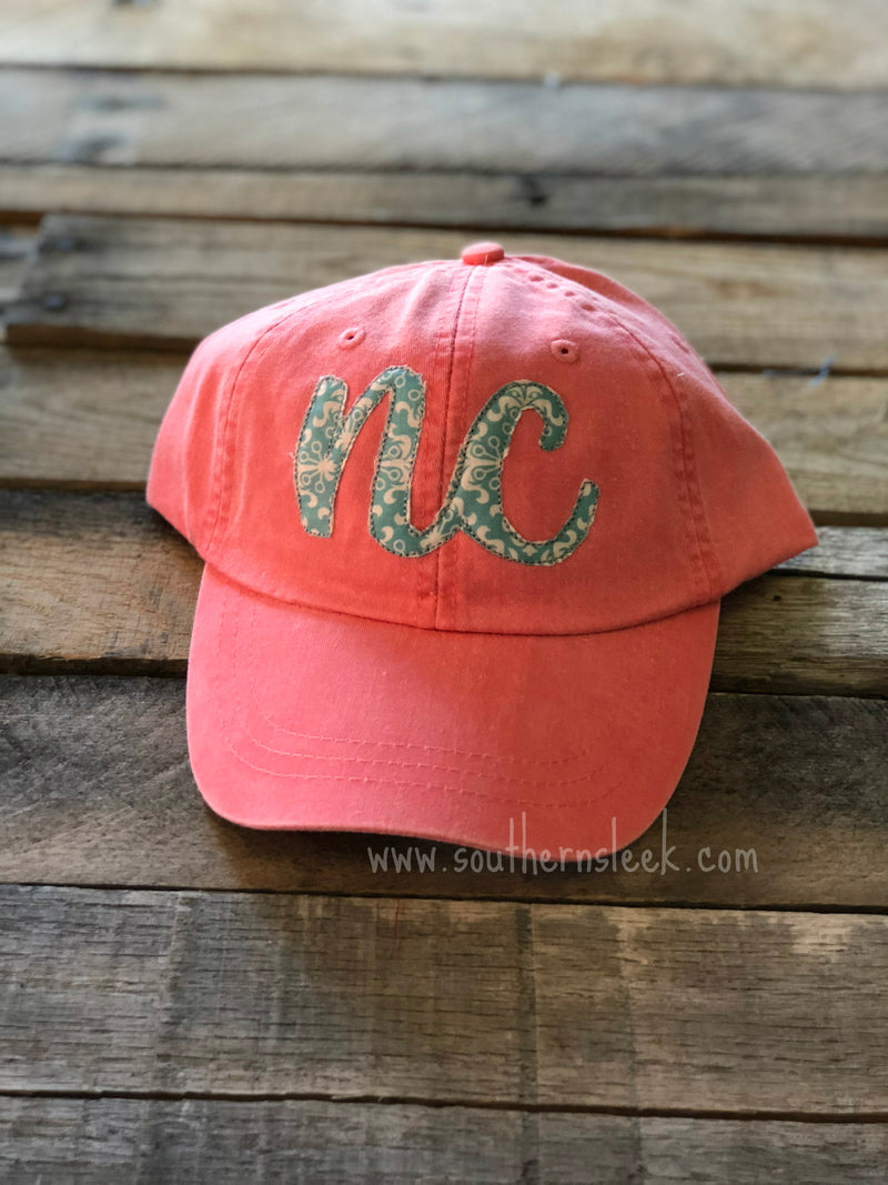 State Abbreviation Coral & Teal Hat
