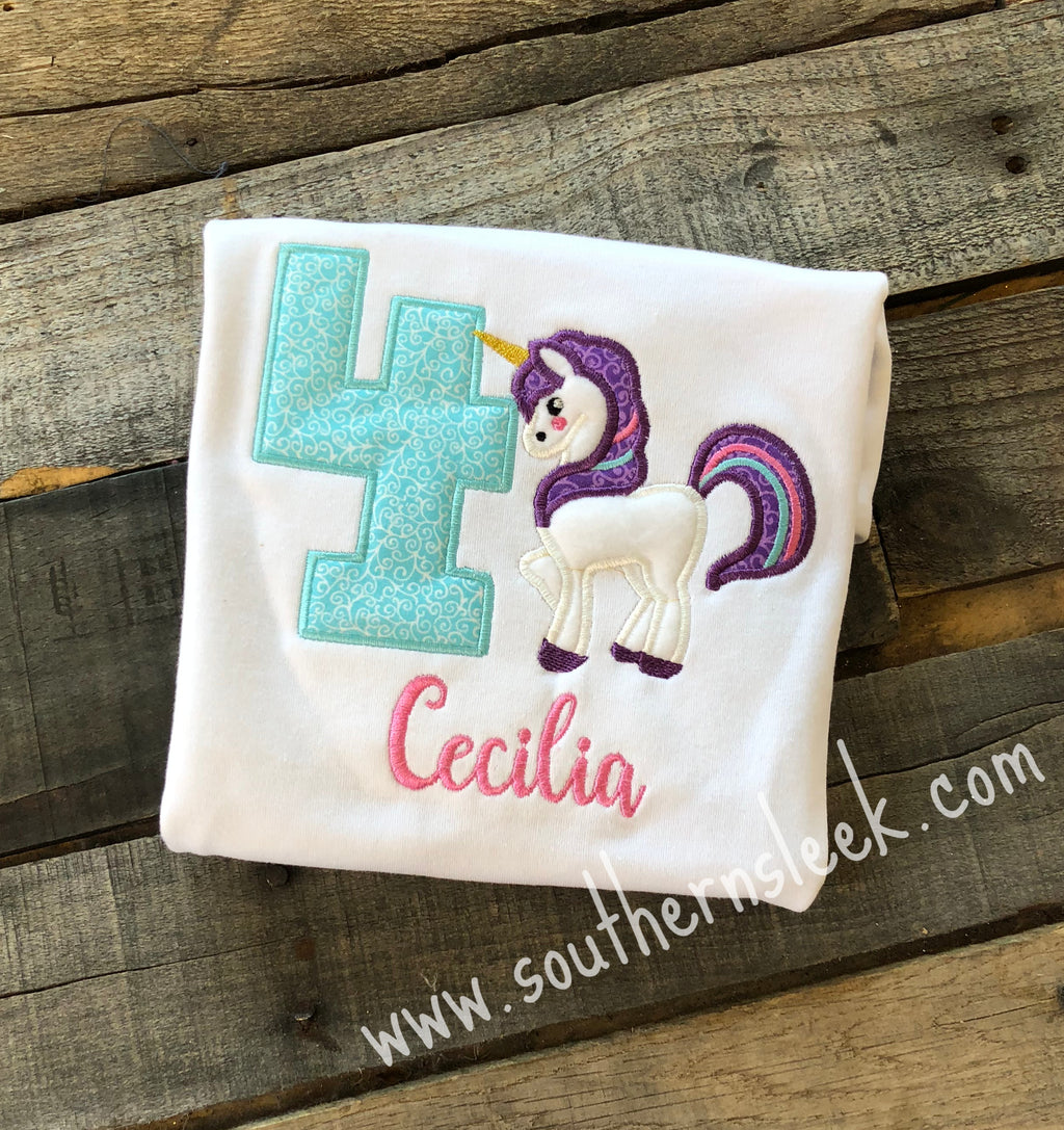Unicorn Themed Birthday Embroidered Shirt or Bodysuit