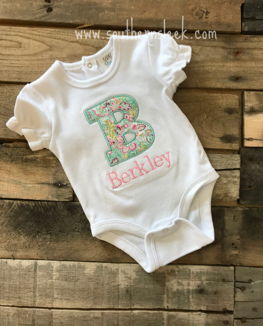 Floral Personalized Embroidered Shirt or Bodysuit