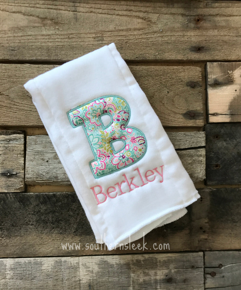 Floral Personalized Initial & Name Burp Cloth