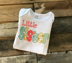 Little Sister Embroidered Shirt or Bodysuit