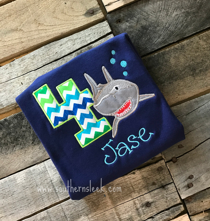 Navy Shark Birthday Embroidered Shirt or Bodysuit