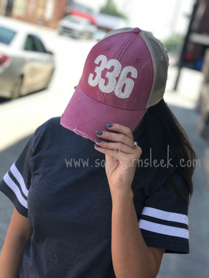 Area Code Burgundy Trucker Hat