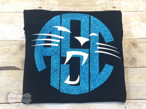Carolina Panthers Monogrammed T-Shirt with Glitter (Adult & Youth)