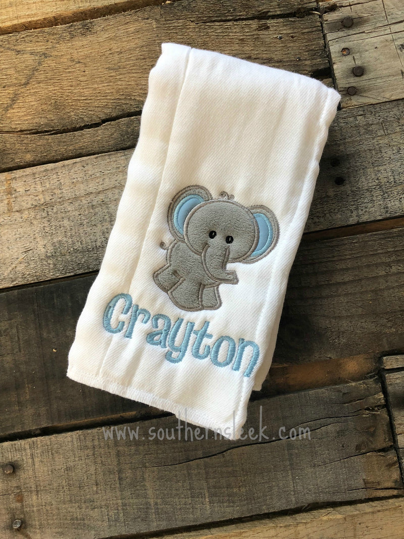 Gray & Blue Elephant Burp Cloth