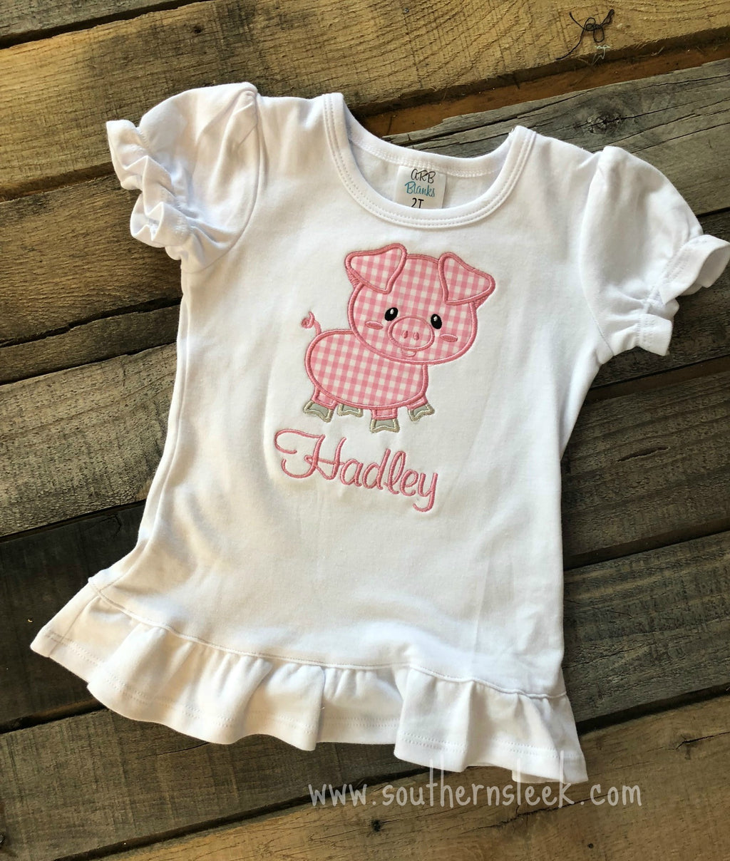 Pig Embroidered Shirt or Bodysuit in Pink