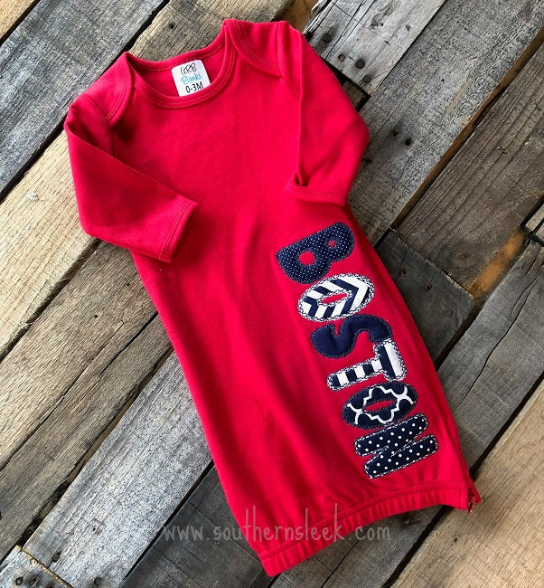 Red, Navy & White Personalized Baby Gown