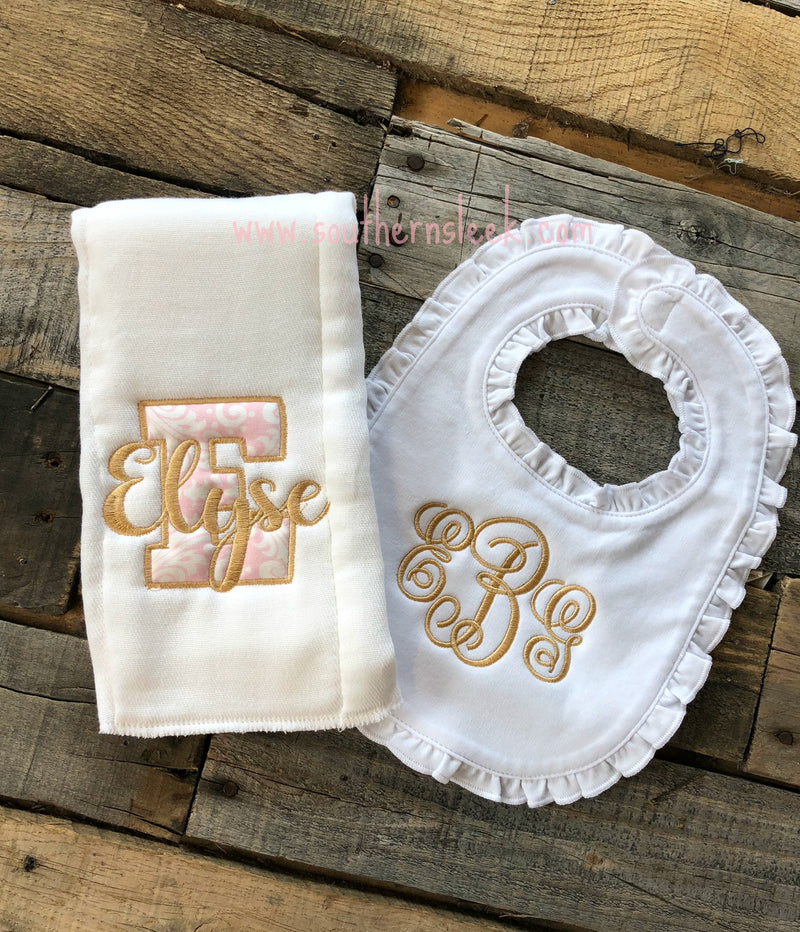 White Ruffle Bib & Burp Cloth with Gold & Pink Monogram
