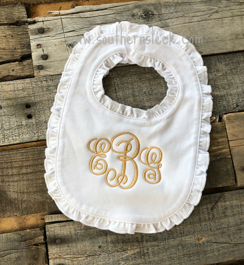 White Ruffle Bib with Gold Monogram