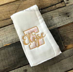 Pink & Gold Personalized Burp Cloth
