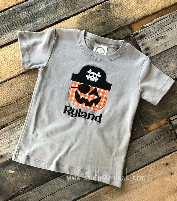 Pumpkin Pirate Embroidered Shirt in Gray & Orange