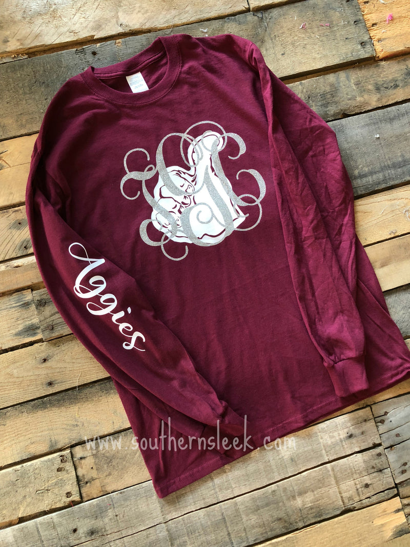 Texas A&M Aggies Monogrammed T-Shirt - Adult and Youth