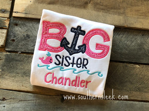 Big Sis Nautical Themed Embroidered Shirt in Navy, Pink & Aqua