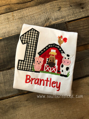 Farm Themed Birthday Embroidered Shirt or Bodysuit