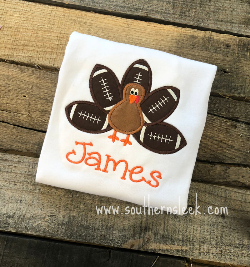 Boys Thanksgiving Turkey & Footballs Embroidered Shirt or Bodysuit Brown