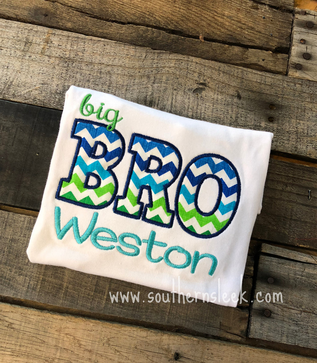 Big Bro Brother Embroidered Shirt or Bodysuit Blue Green Chevron