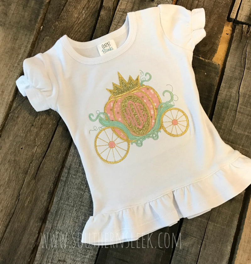 Princess Carriage Monogrammed Embroidered Shirt or Bodysuit in Pink, Gold Glitter, Mint