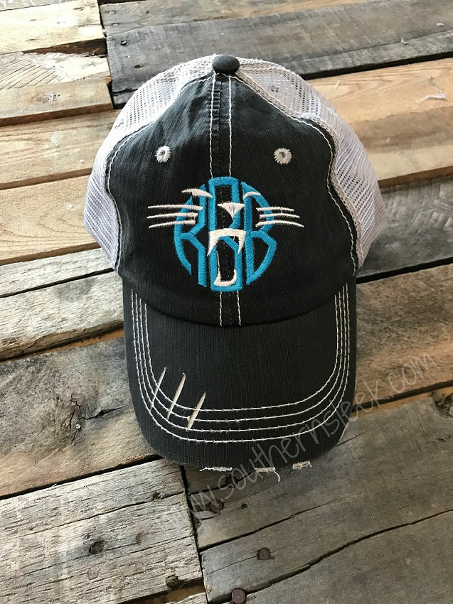 Panthers Monogrammed Distressed Trucker Hat