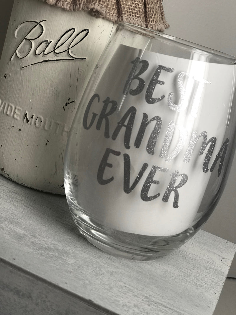 Best Grandma Ever Stemless Wine Glass