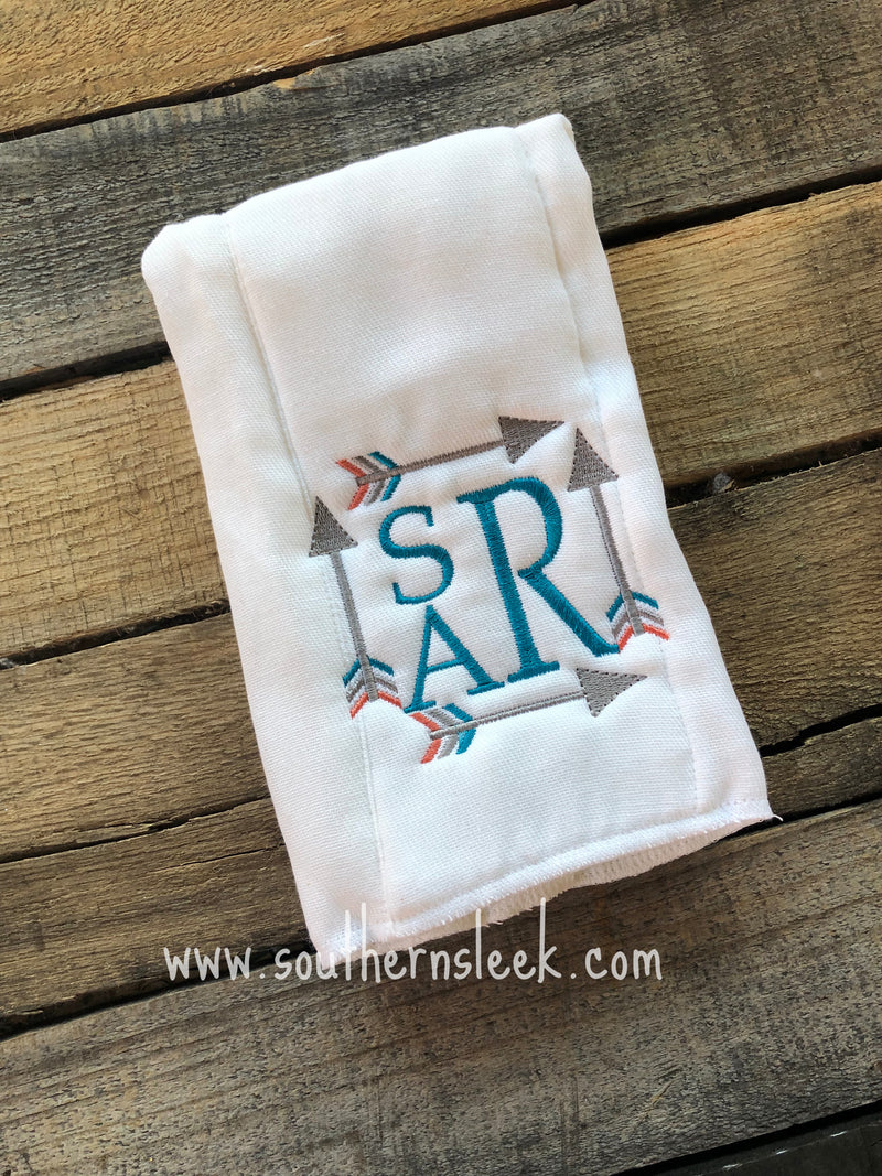 Teal, Gray & Orange Arrows Monogrammed Burp Cloth