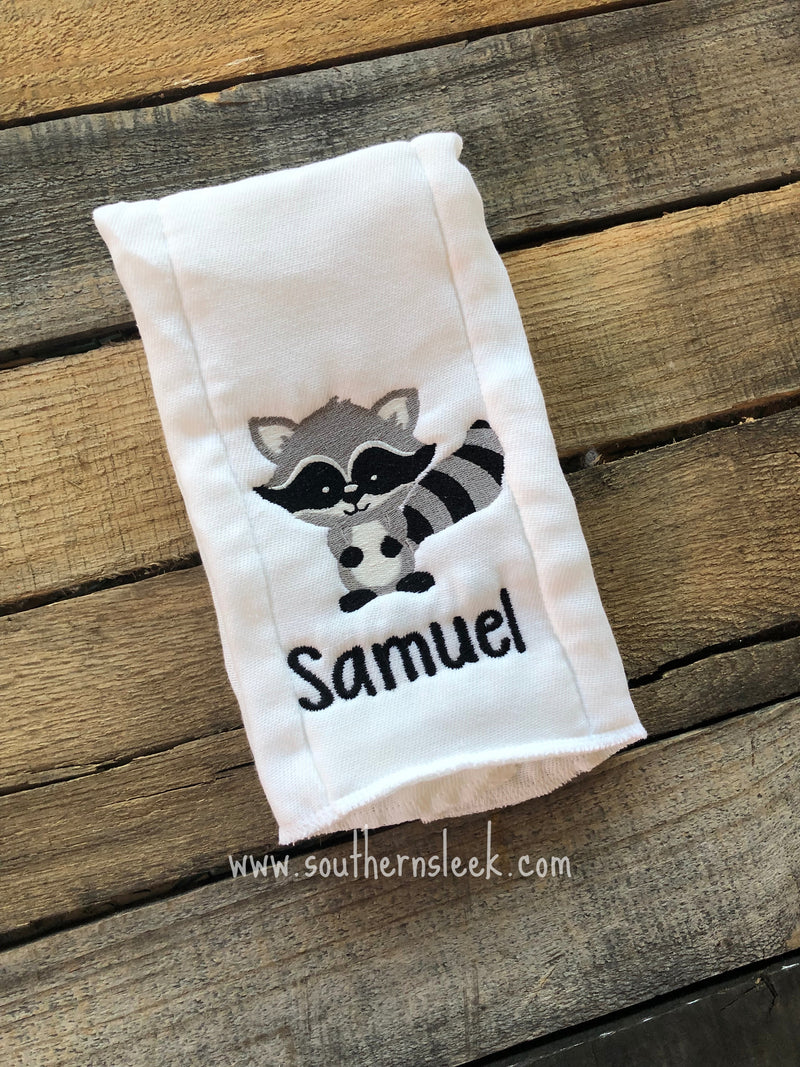 Racoon Personalized Burp Cloth