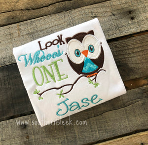 Look Whoo's One Owl Birthday Embroidered Shirt or Bodysuit