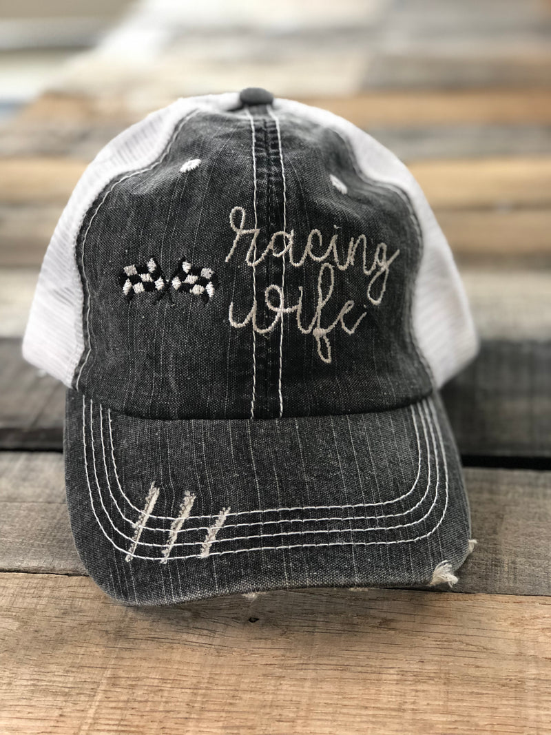Racing Wife Distressed Trucker Hat