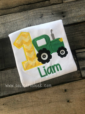 Tractor Themed Embroidered Birthday Shirt or Bodysuit in Green and Yellow