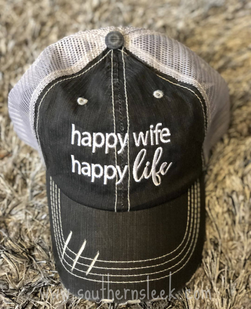 Happy Wife Happy Life Distressed Trucker Hat