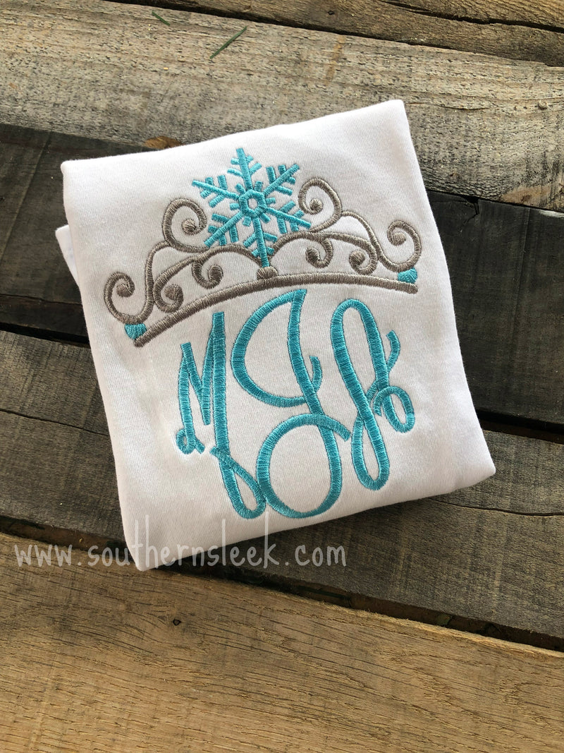 Silver & Blue Monogrammed Princess Crown Shirt or Bodysuit