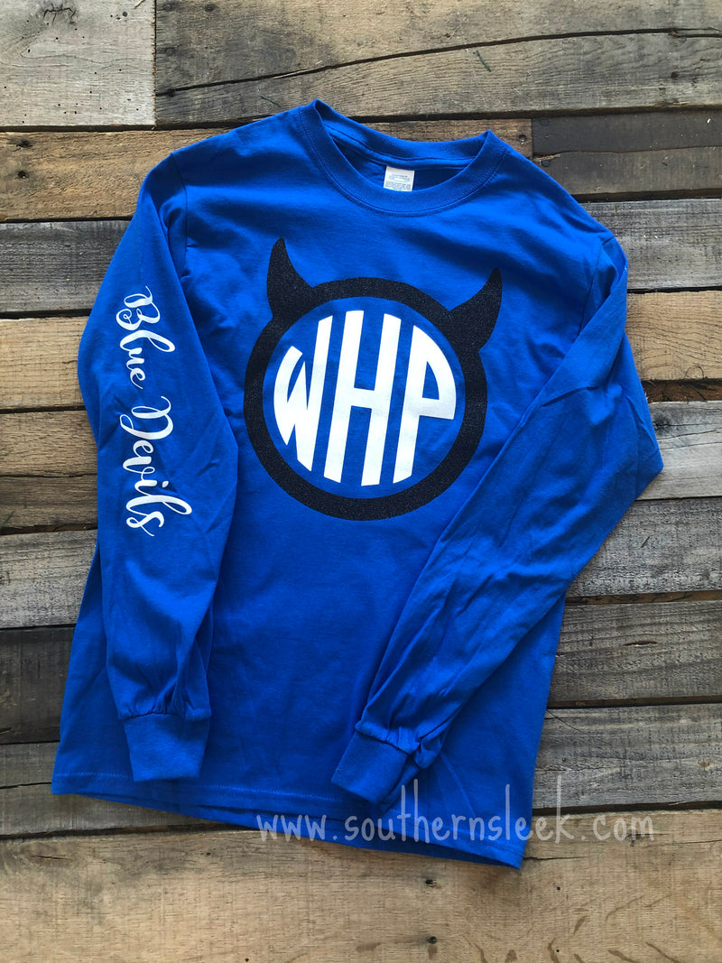 Blue Devils Themed Monogrammed Shirt