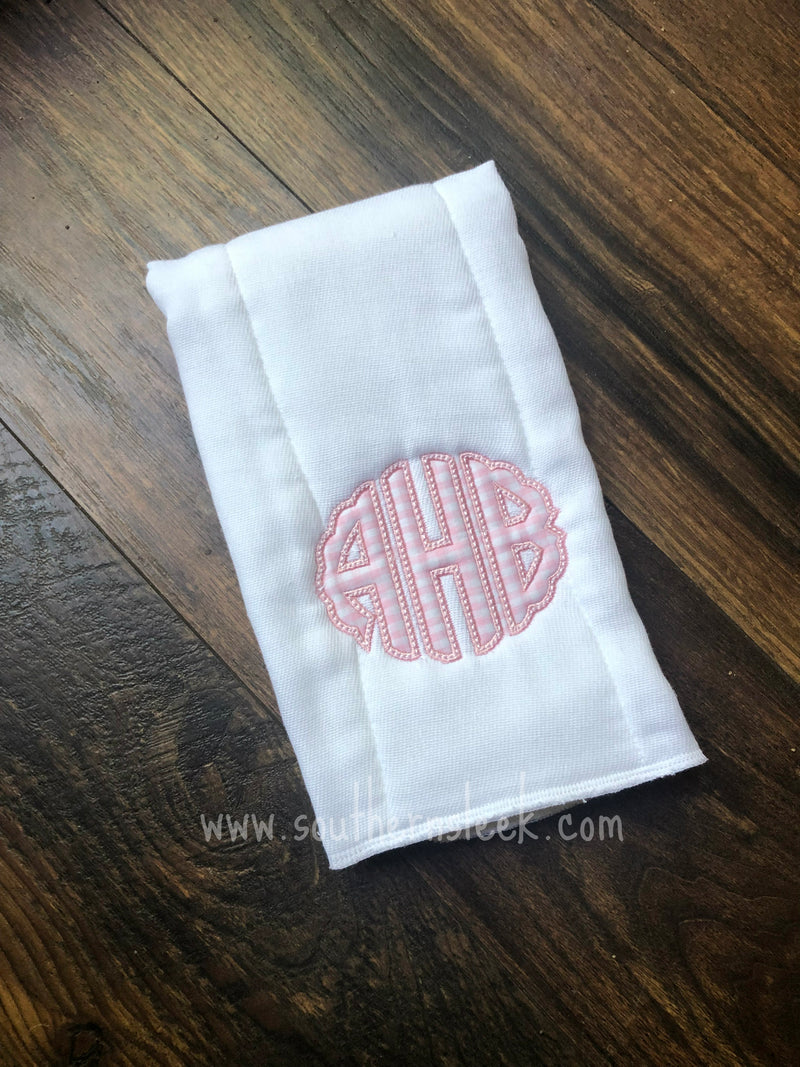 Pink Gingham Monogrammed Burp Cloth