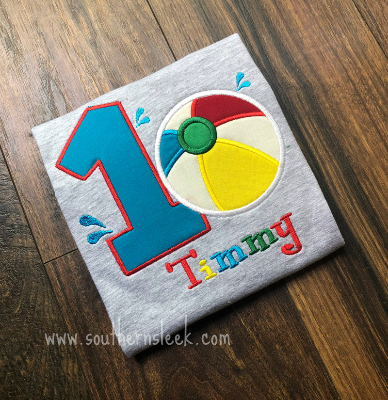 Beach Ball Grey Birthday Shirt