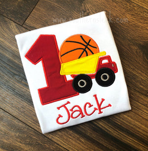 Dump Truck with Basketball Birthday Shirt or Bodysuit