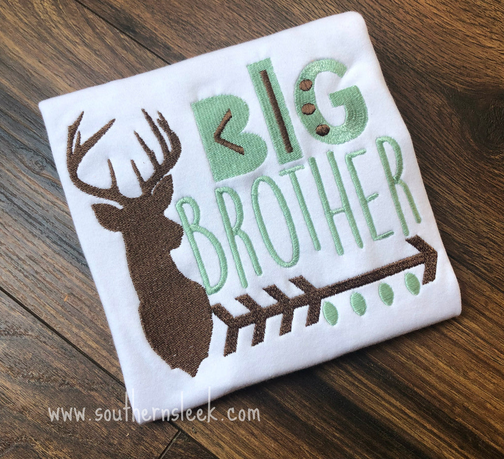 Big Brother Deer Embroidered Shirt or Bodysuit in Brown & Mint Green
