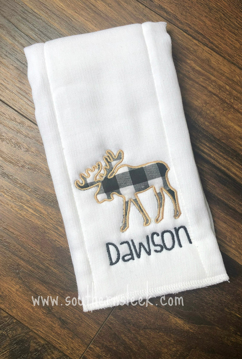 Moose Burp Cloth with Buffalo Plaid