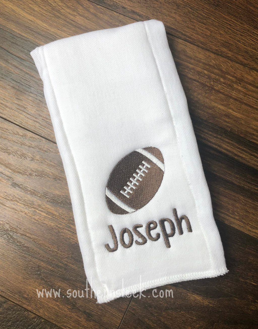 Football Embroidered Burp Cloth