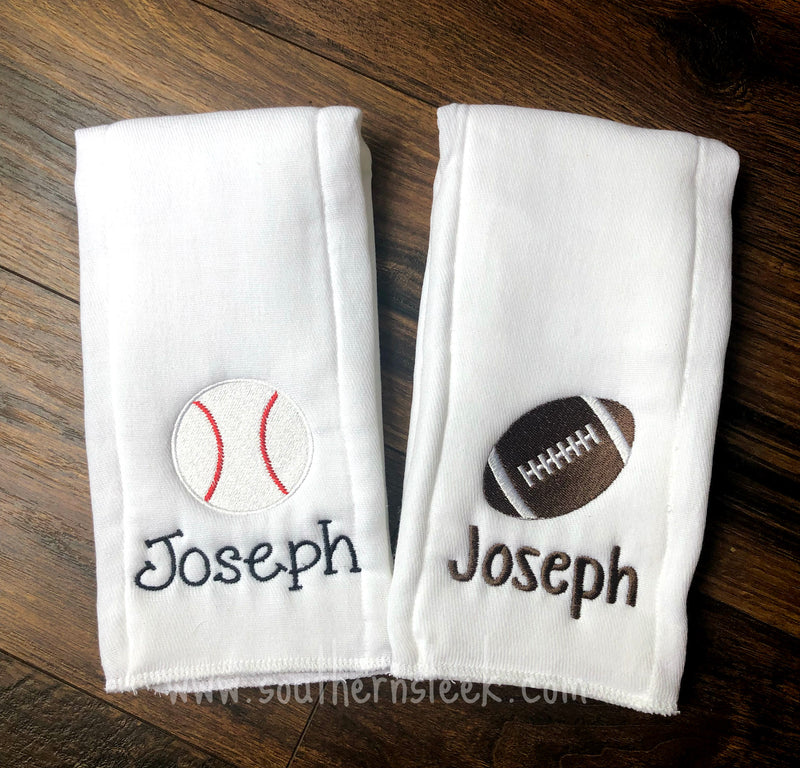 Football & Baseball Embroidered Burp Cloths