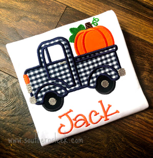 Truck With Pumpkin Embroidered Shirt or Bodysuit in Navy & Orange