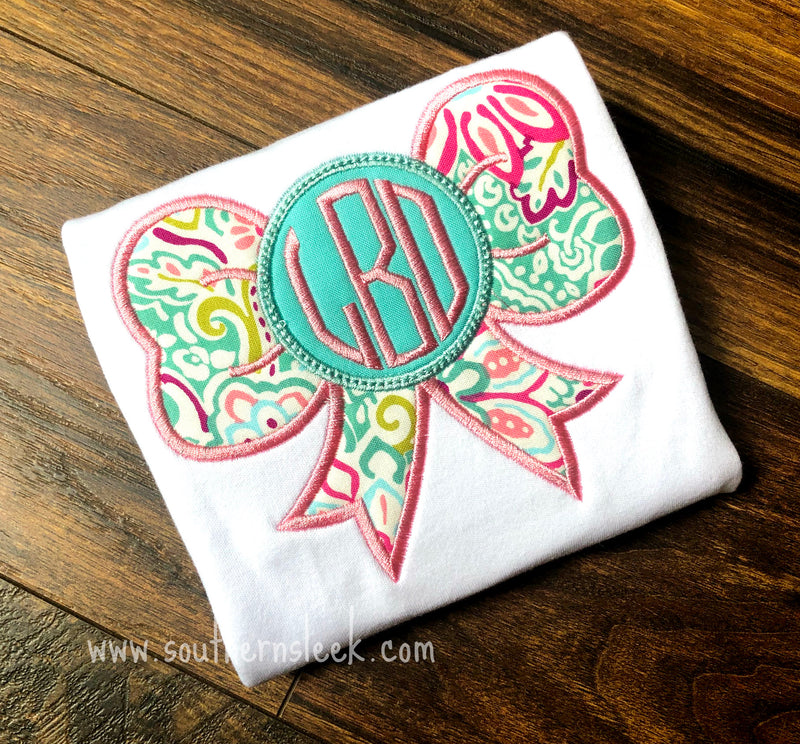 Pink & Teal Monogrammed Bow Embroidered Shirt or Bodysuit