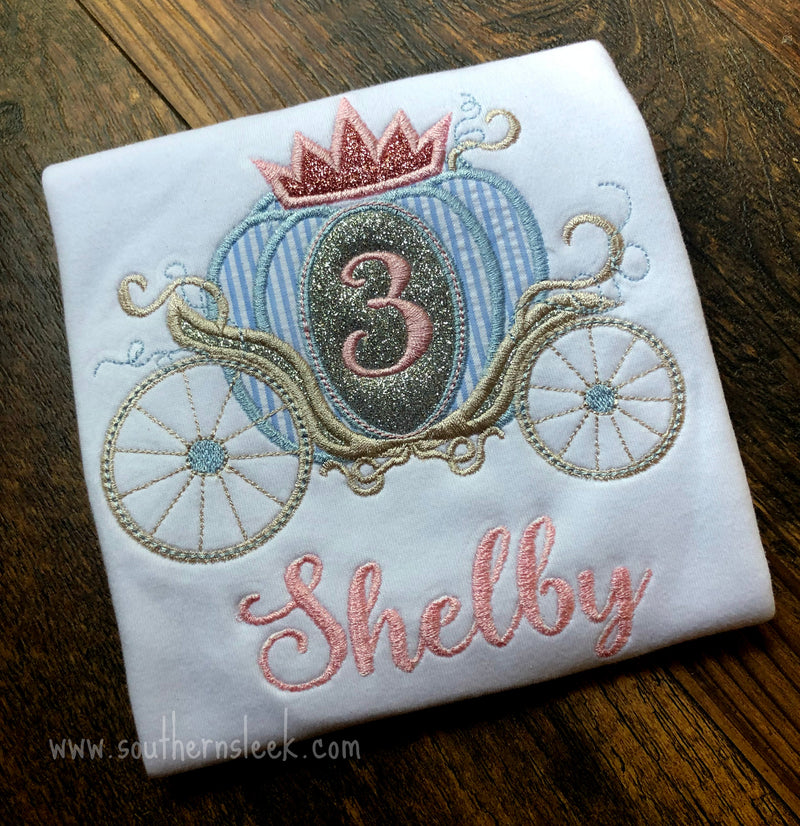Carriage Birthday Shirt in Blue, Silver Glitter & Pink Glitter