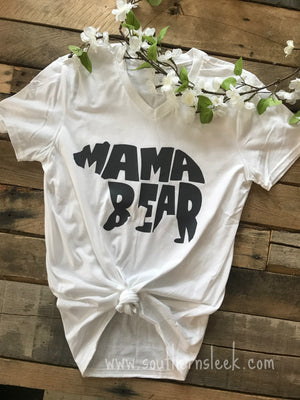 Mama Bear White V-Neck T-Shirt