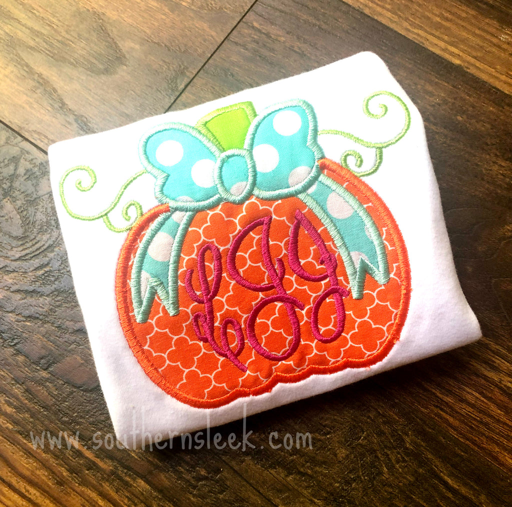 Monogrammed Pumpkin with Bow Embroidered Shirt or Bodysuit