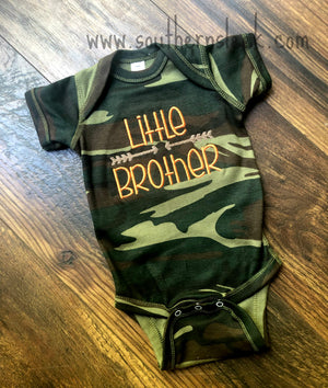 Little Brother Arrows Embroidered Bodysuit in Camo, Orange, & Brown