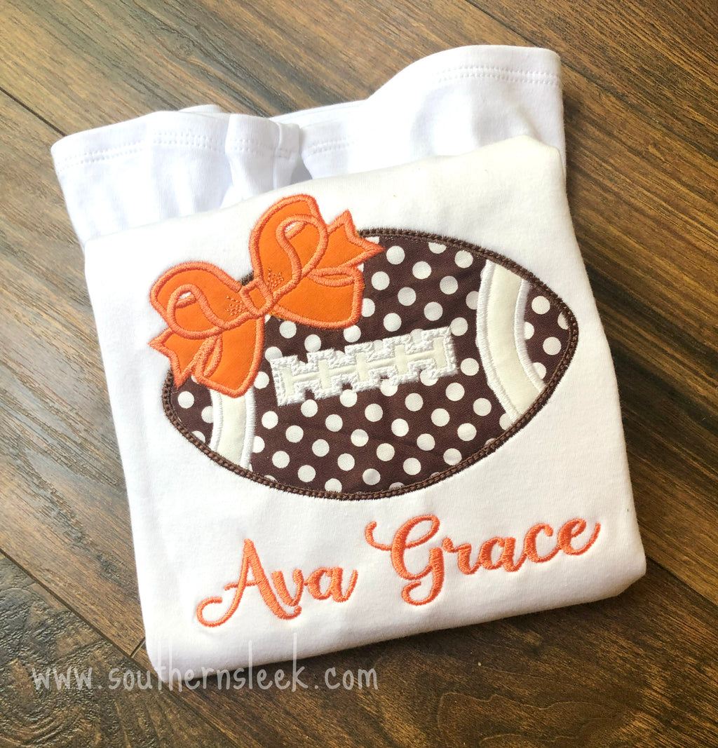 Girls Embroidered Football With Bow Shirt or Bodysuit with Name