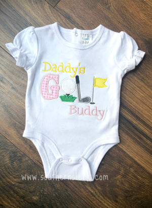 Daddy's Little Golf Buddy Embroidered Shirt or Bodysuit Girl