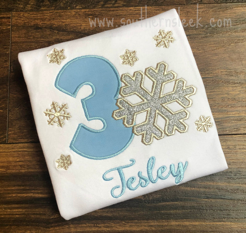 Winter Snowflake Themed Birthday Shirt or Bodysuit in Blue & Silver Glitter