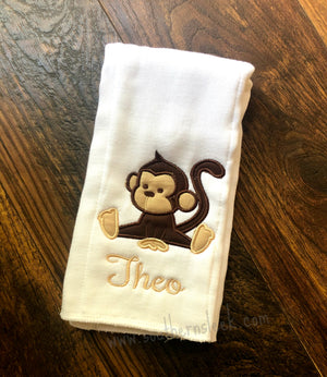 Baby Monkey Burp Cloth Rag Embroidered